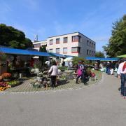 Eingangsbereich mit Markt am traditionellen Herbstfest